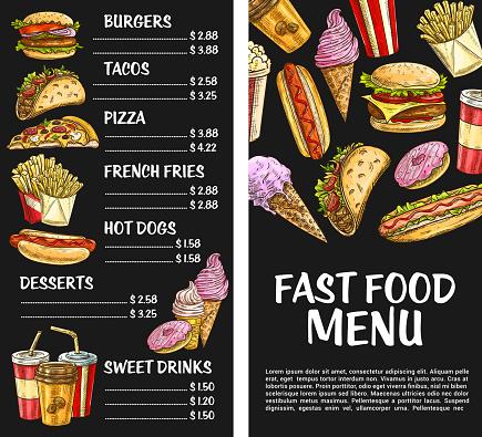 Fast food vector menu poster fastfood restaurant