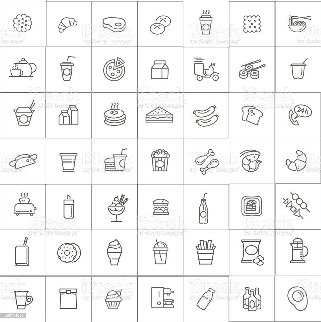 Fast-food-Vektor Kontur symbole set. Garkochen Lizenzfreies fastfoodvektor kontur symbole set garkochen stock vektor art und mehr bilder von alkoholisches getränk