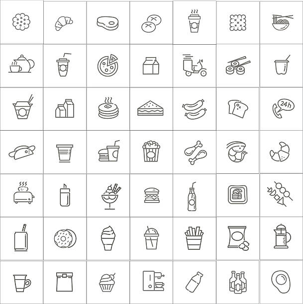 fast food vector outline icons set. cooking - junk food stock illustrations, clip art, cartoons, & icons