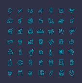 Cooking. Fast food vector outline icons set