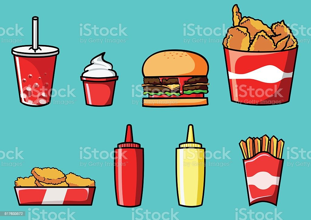 Fast Food Vector Set Stock Vector Art More Images Of Burger