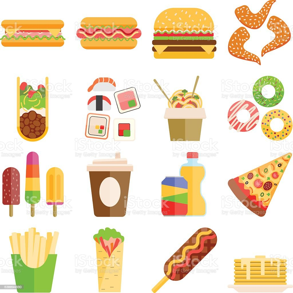 Fast food vector set. vector art illustration