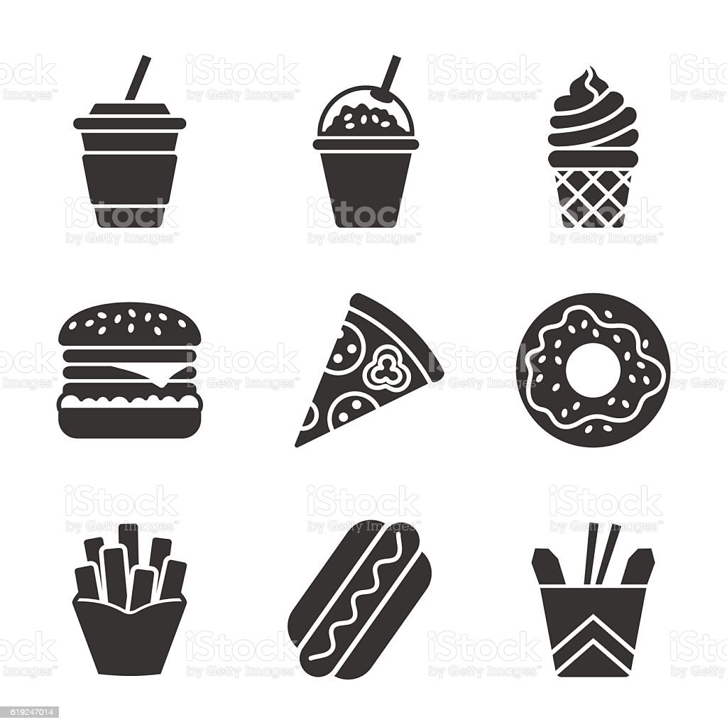 Fast food vector silhouette icon set vector art illustration