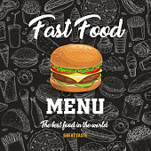 Fast food vector menu with cartoon burger on black chalkboard background with sketch fastfood meals. Hot dog, pizza and sandwich, soda drink, french fries and tacos takeaway snacks,jJunk meals poster