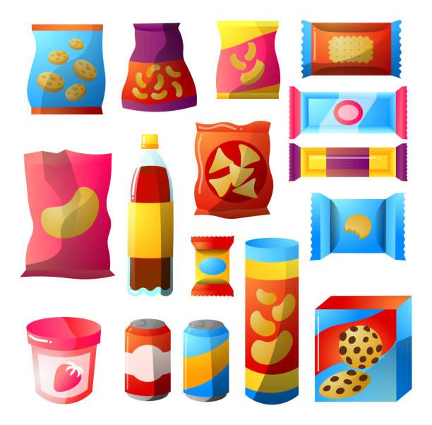 stockillustraties, clipart, cartoons en iconen met fast food, vending producten pakketten design set. illustratie clipart - bevroren voedsel
