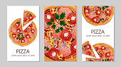 Vector colorful illustrations on the fast food theme; pizzas from different recipes. Template for advertising products. Cards for your design.