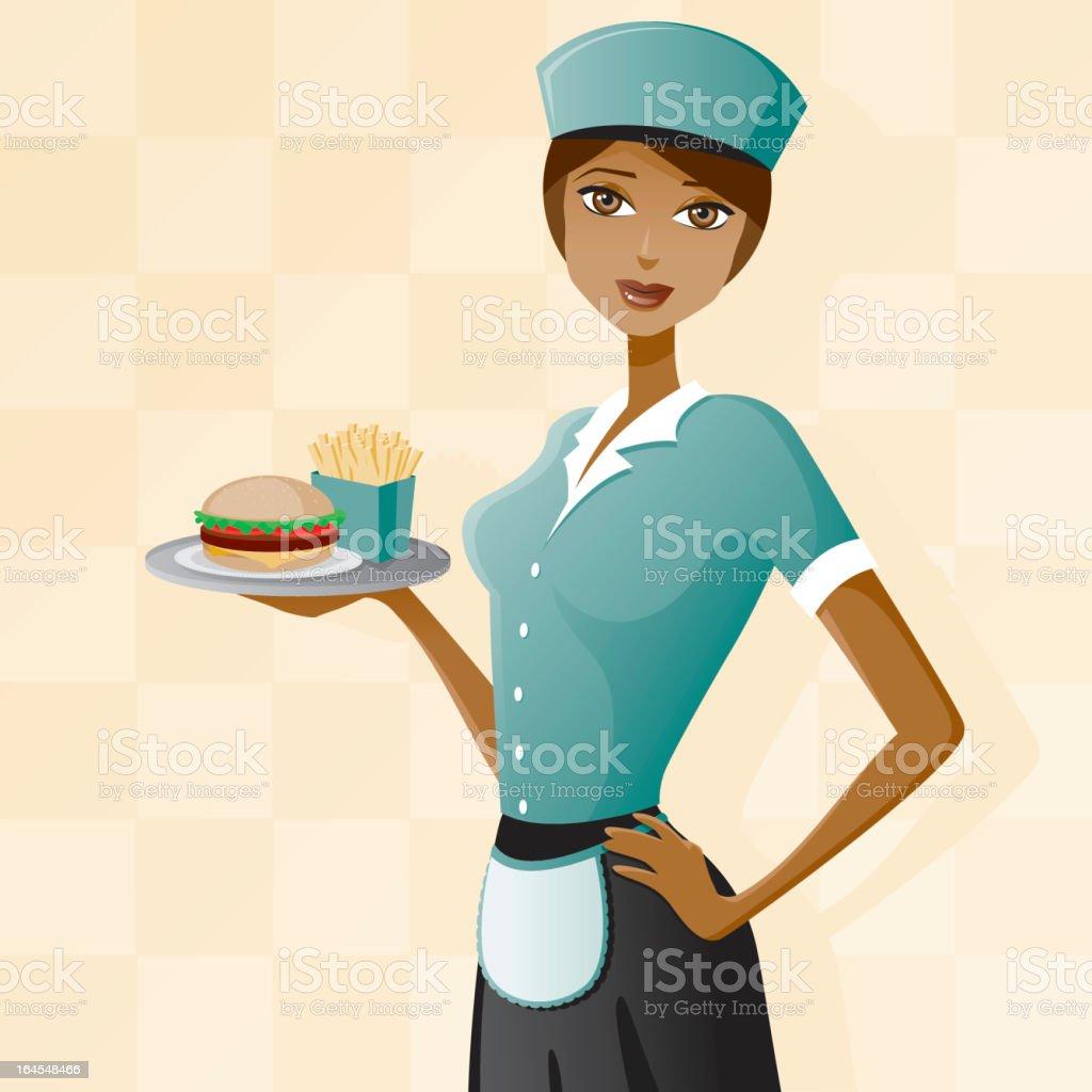 Fast Food Waitress vector art illustration