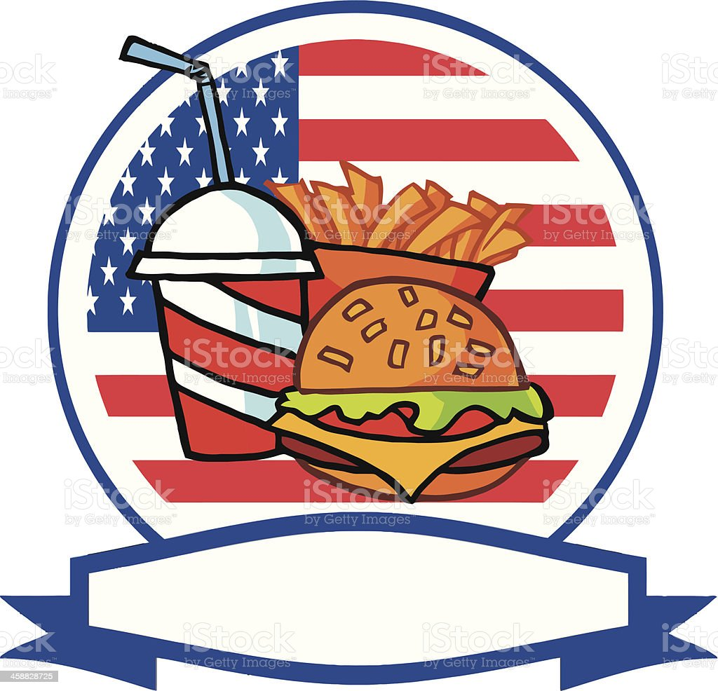 Fast Food With Banner USA Flag vector art illustration