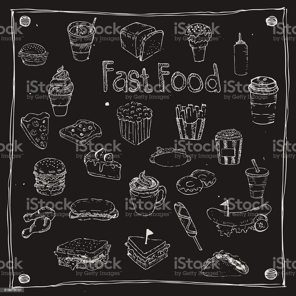 Fast Foods draw 25 Item vector art illustration