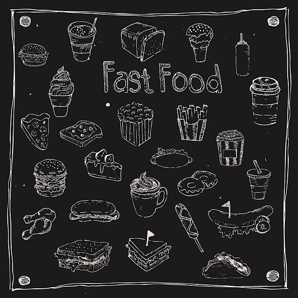 fast foods draw 25 item - sub sandwich stock illustrations, clip art, cartoons, & icons