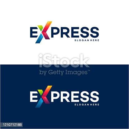 istock Fast Forward Express logo designs vector, Modern Express logo template, design concept 1210712185