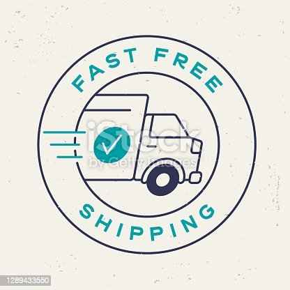 istock Fast Free Shipping Stamp 1289433550