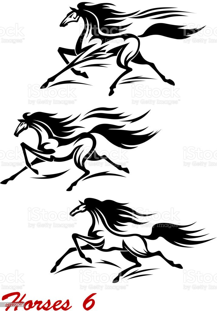 Fast galloping horses and mustangs vector art illustration