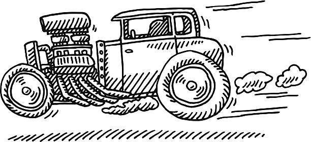 Fast Hot Rod Racing Car Drawing Hand-drawn vector drawing of a Fast Hot Rod Racing Car, Side View. Black-and-White sketch on a transparent background (.eps-file). Included files are EPS (v10) and Hi-Res JPG. motor sport stock illustrations