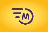 Fast line vector circle M rings monogram