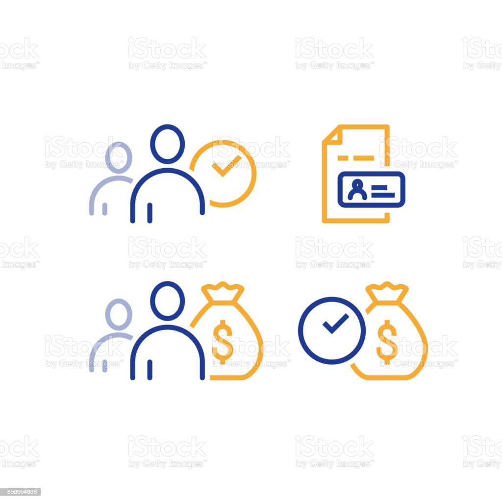 Fast loan, quick money, finance services, timely payment, customer and money bag, vector icon vector art illustration