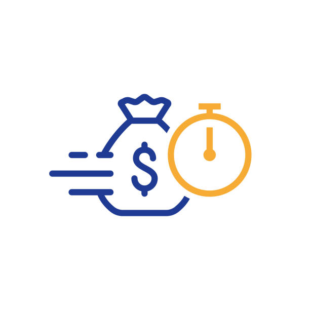 Fast loan, quick money, finance services, timely payment, stopwatch and money bag, vector icon Quick and easy loan, fast money providence, business and finance services, timely payment, financial solution, vector line icon wages stock illustrations