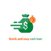 Fast loan, quick money, finance services, timely payment, stopwatch and money bag, vector icon