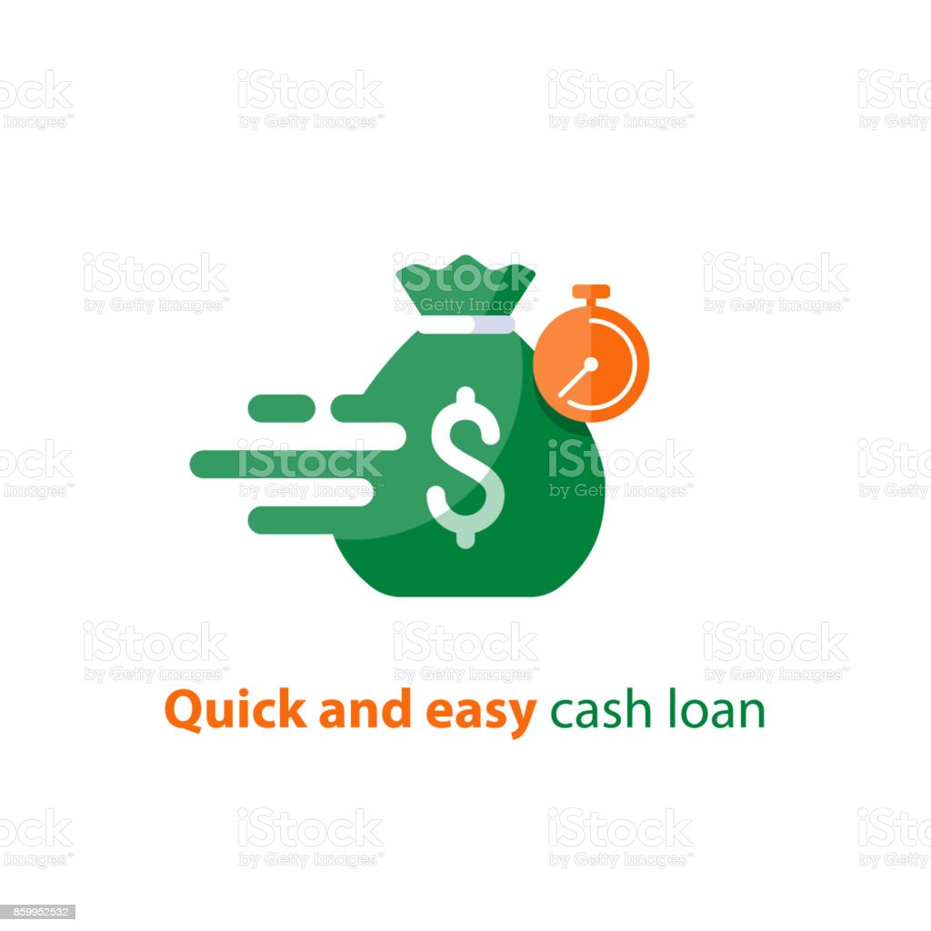 Fast loan, quick money, finance services, timely payment, stopwatch and money bag, vector icon vector art illustration