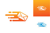 istock Fast Mail Logo Template Design Vector, Emblem, Design Concept, Creative Symbol, Icon 1328630253