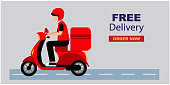 Vector banner of delivery by bike via mobile phone . Online delivery service concept.