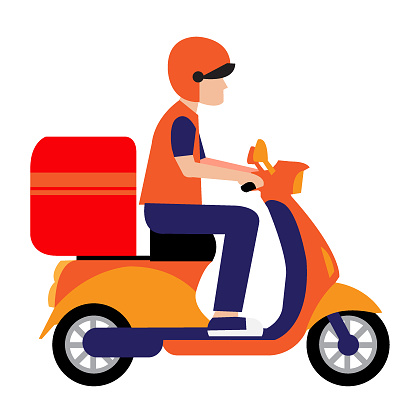 Fast online delivery service by motor scooter