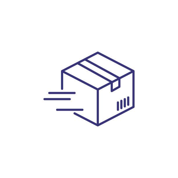 stockillustraties, clipart, cartoons en iconen met snelle perceel lijn pictogram - scheepvaart