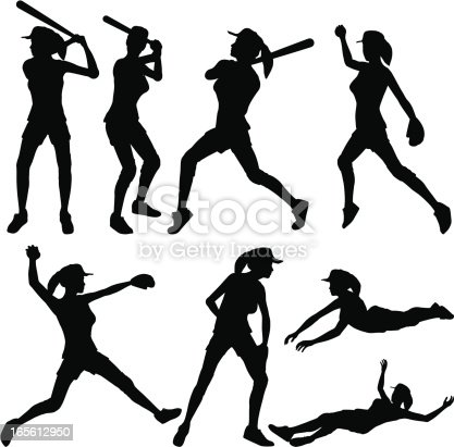 Fast Pitch Softball Silhouette Collection stock vector art