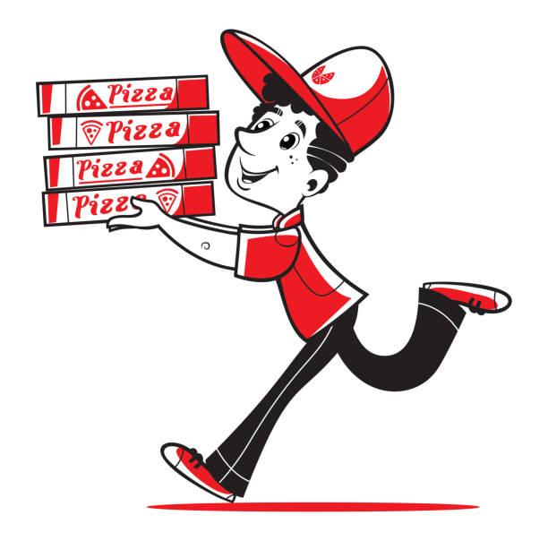 schnelle pizza-lieferung. vector illustration. - pizzeria stock-grafiken, -clipart, -cartoons und -symbole