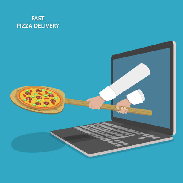 fast pizza delivery vektor-illustration. - buchenholz stock-grafiken, -clipart, -cartoons und -symbole