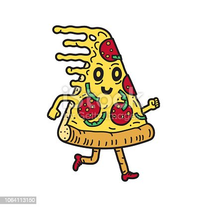 Slice of pizza running. Vector illustration. Vector EPS 10, HD JPEG 4000 x 4000 px