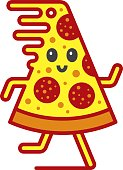 Vector icon. Running pizza. Files included: Vector EPS 10, JPEG 3000 x 4000 px, transparent PNG, AI 17