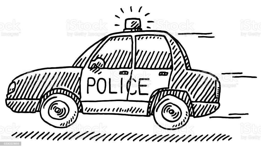 Fast Police Car Emergency Drawing Stock Vector Art 533032655 Istock
