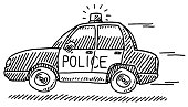 Hand-drawn vector drawing of a Fast Police Car in a case of Emergency. Black-and-White sketch on a transparent background (.eps-file). Included files are EPS (v10) and Hi-Res JPG.