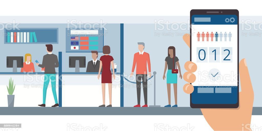 Fast queue app on smartphone vector art illustration
