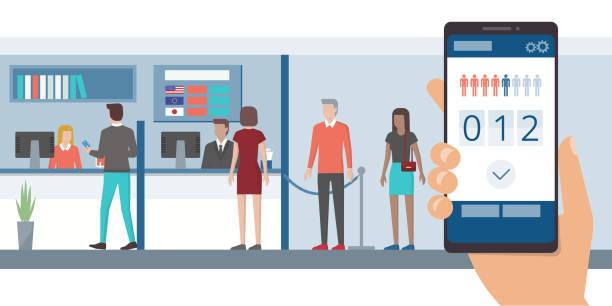Fast queue app on smartphone vector art illustration