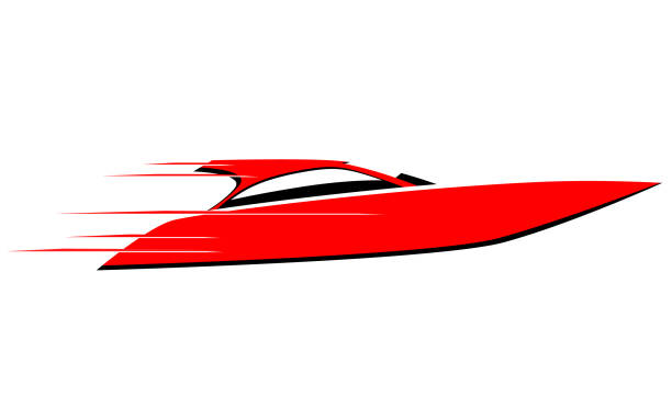 Fast red speed boat vector icon vector art illustration