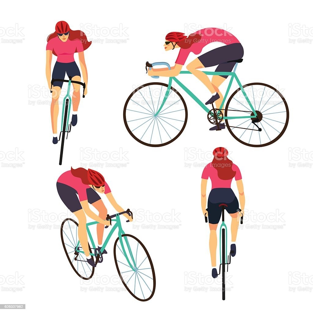 Fast road biker set from different view - ilustración de arte vectorial