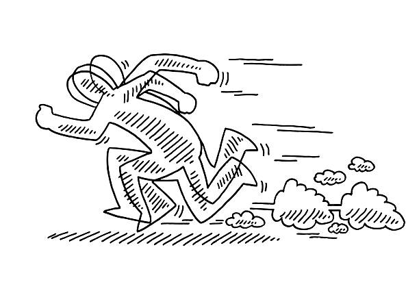 Fast Running Stick Figure Drawing Hand-drawn vector drawing of a Fast Running Stick Figure. Black-and-White sketch on a transparent background (.eps-file). Included files are EPS (v10) and Hi-Res JPG. running stock illustrations
