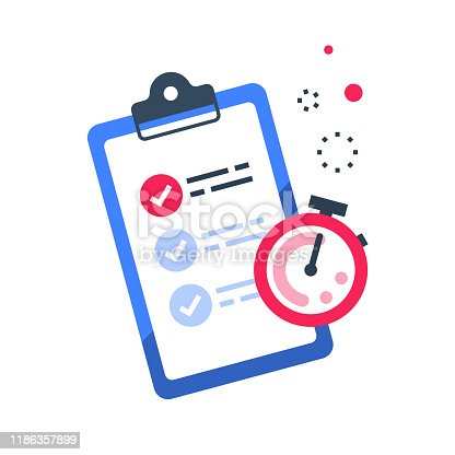 istock Fast services, check list and stopwatch, quick questionnaire, short survey 1186357899