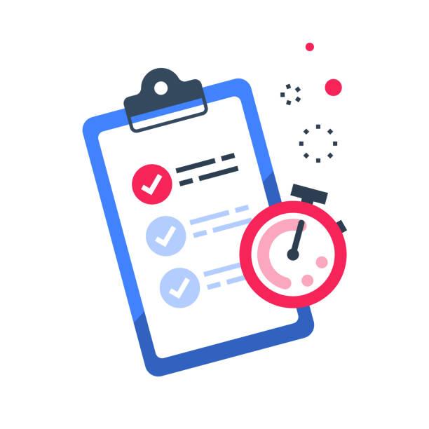 schnelle services, checkliste und stoppuhr, schnellfragebogen, kurzumfrage - fähigkeit stock-grafiken, -clipart, -cartoons und -symbole