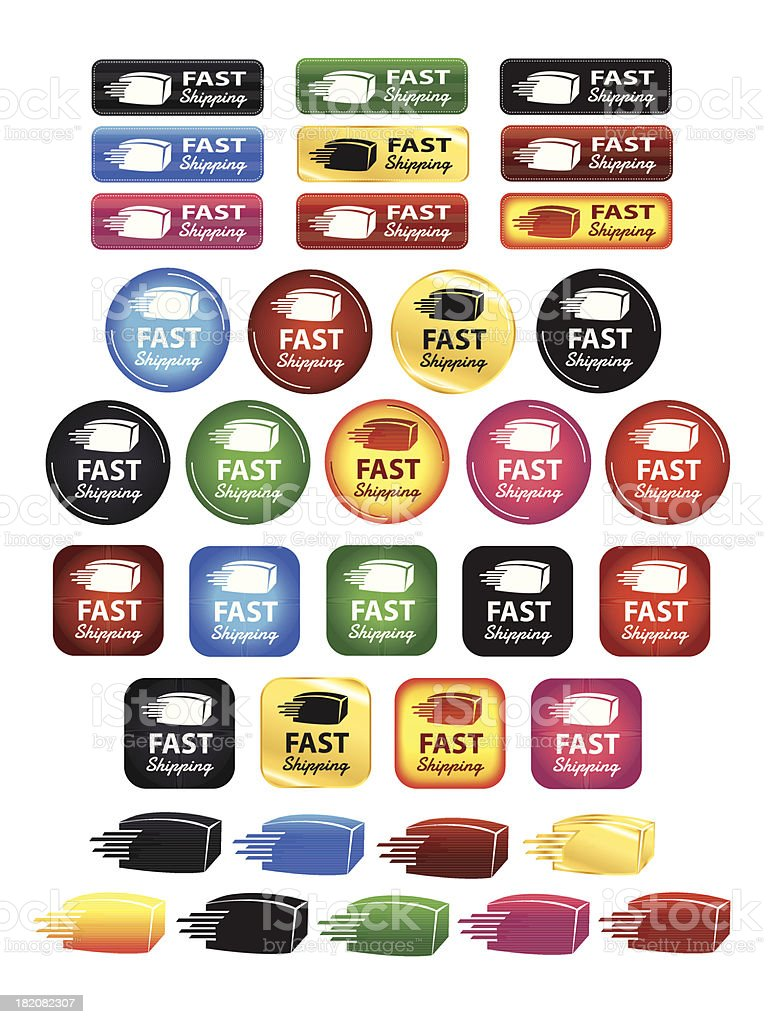 Fast Shipping Box Icons And Buttons vector art illustration