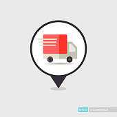 Fast shipping delivery truck flat pin map icon. E-commerce sign. Map pointer. Map markers. Destination vector icon. Graph symbol for your web site design, logo, app, UI. Vector illustration, EPS10.