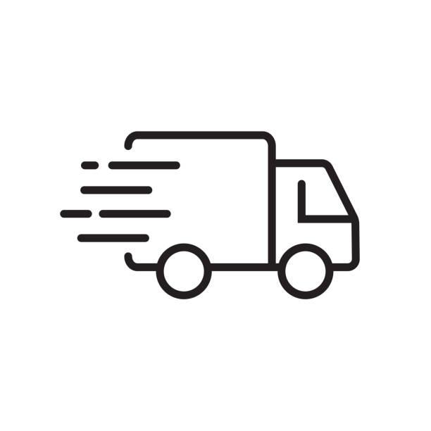 stockillustraties, clipart, cartoons en iconen met snelle verzending levering vrachtwagen. lijn icoon ontwerp. vector illustratie voor apps en websites - distributie magazijn