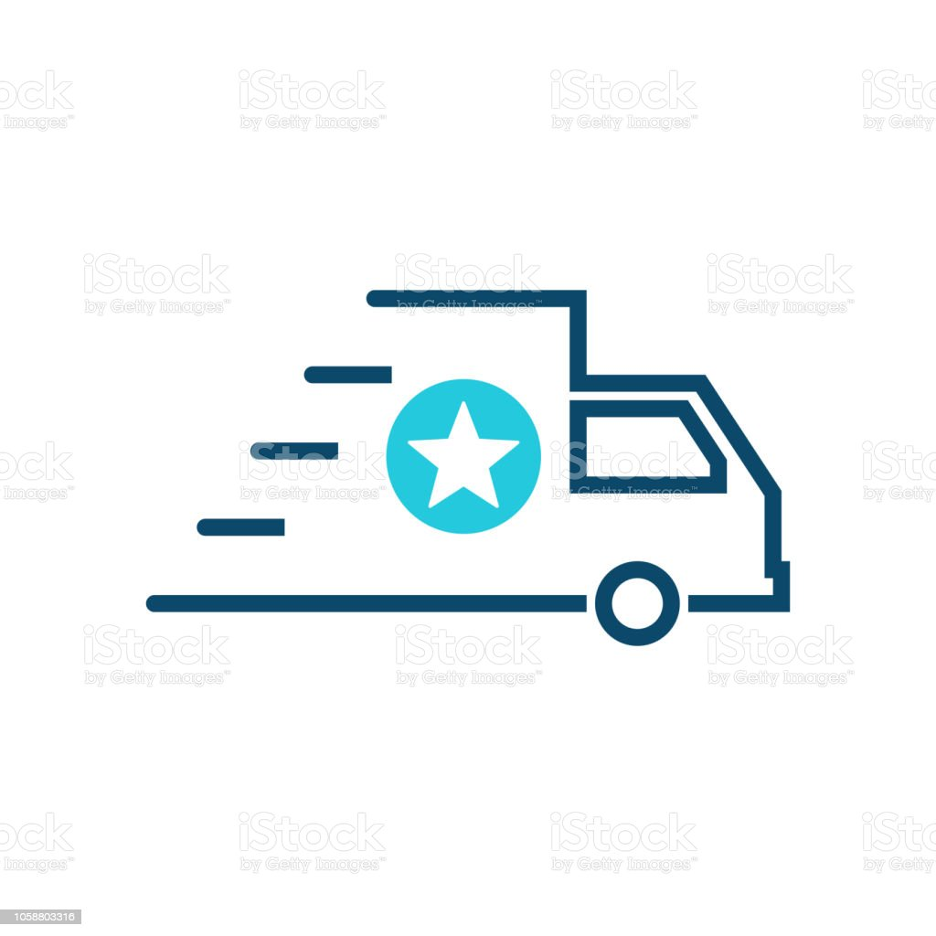 Fast shipping icon, delivery truck icon with star sign. Fast shipping icon and best, favorite, rating symbol vector art illustration