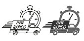 Fast shipping in Portuguese language. Delivery truck icon vector illustration.
