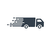 Fast Shipping service Icon with truck driving fast. Vector flat illustration for express delivery concepts
