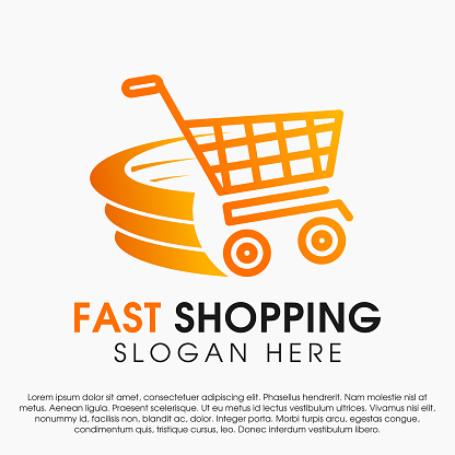Fast shopping concept logo design template. Shopping cart vector illustration isolated on white background. Shopping cart in motion logo design. Shopping cart swoosh wind logo design template.