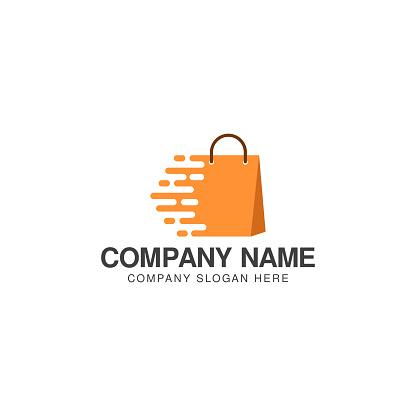 Fast shopping logo or icon vector design template