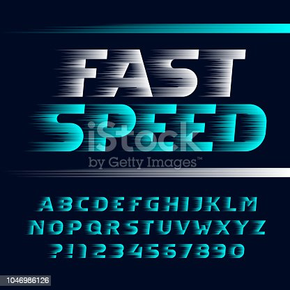 Fast Speed alphabet font. Wind effect italic letters, symbols and numbers. Stock vector typeface for you design.